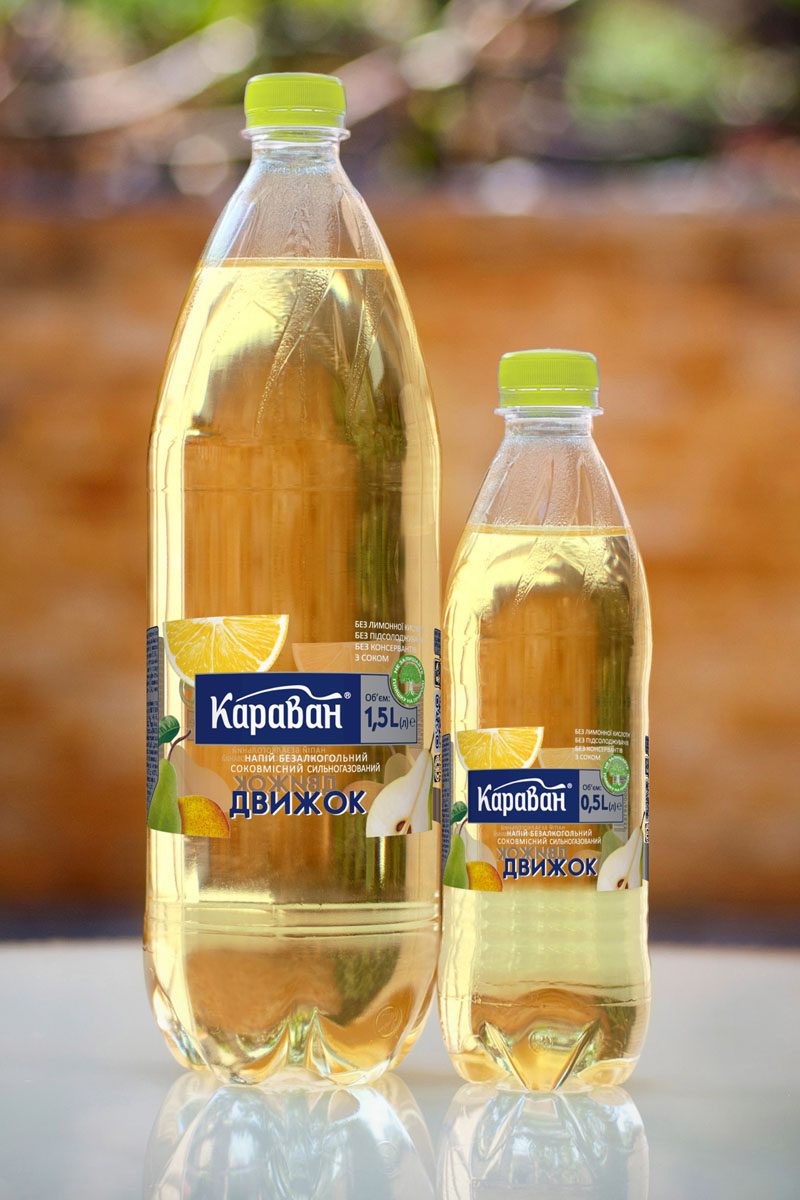 Non-alcoholic carbonated soft drink containing juice «Dvyzhok» 1.5l, 0.5l