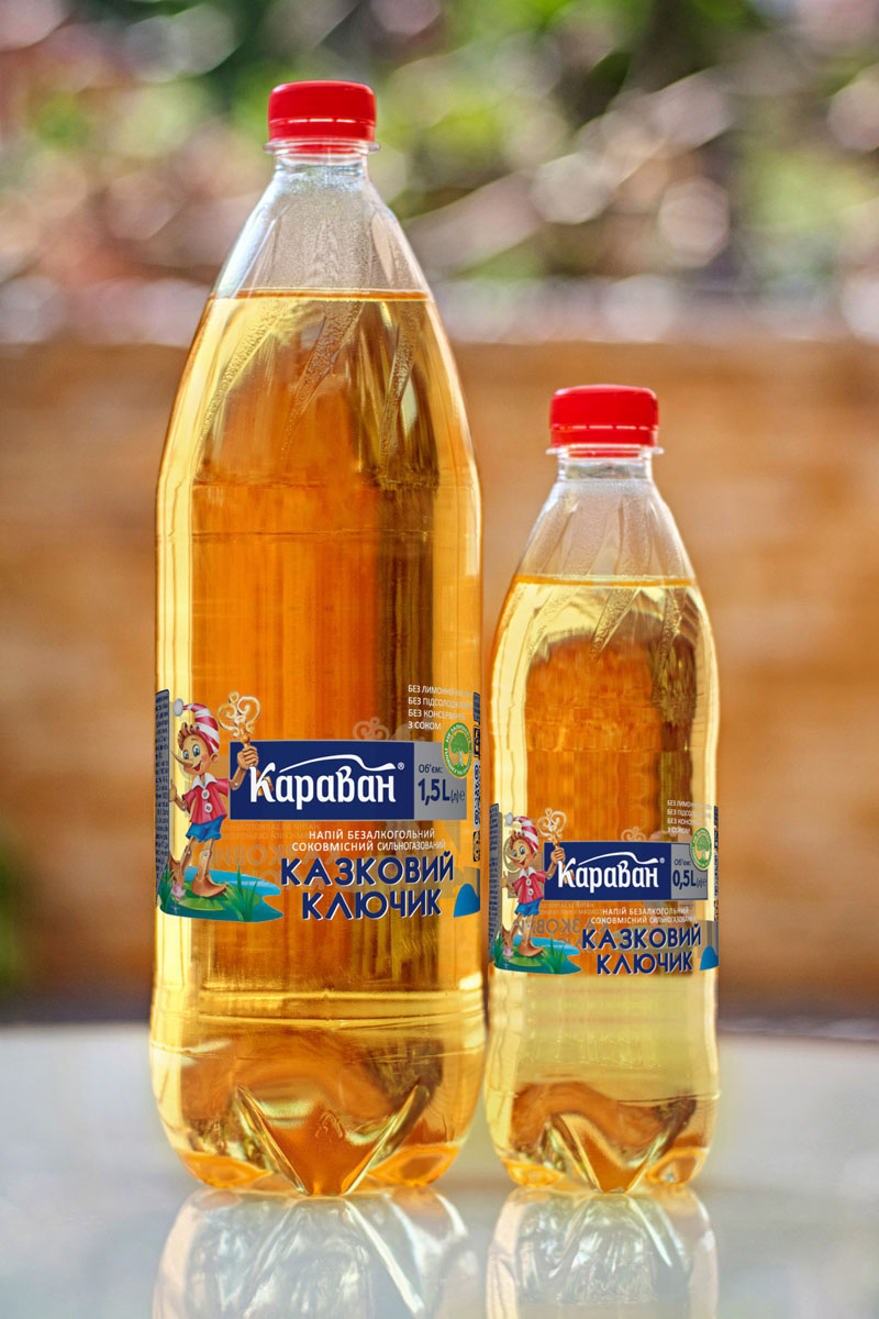Non-alcoholic carbonated soft drink containing juice «Kazkoviy Kluchik» 1.5l, 0.5l