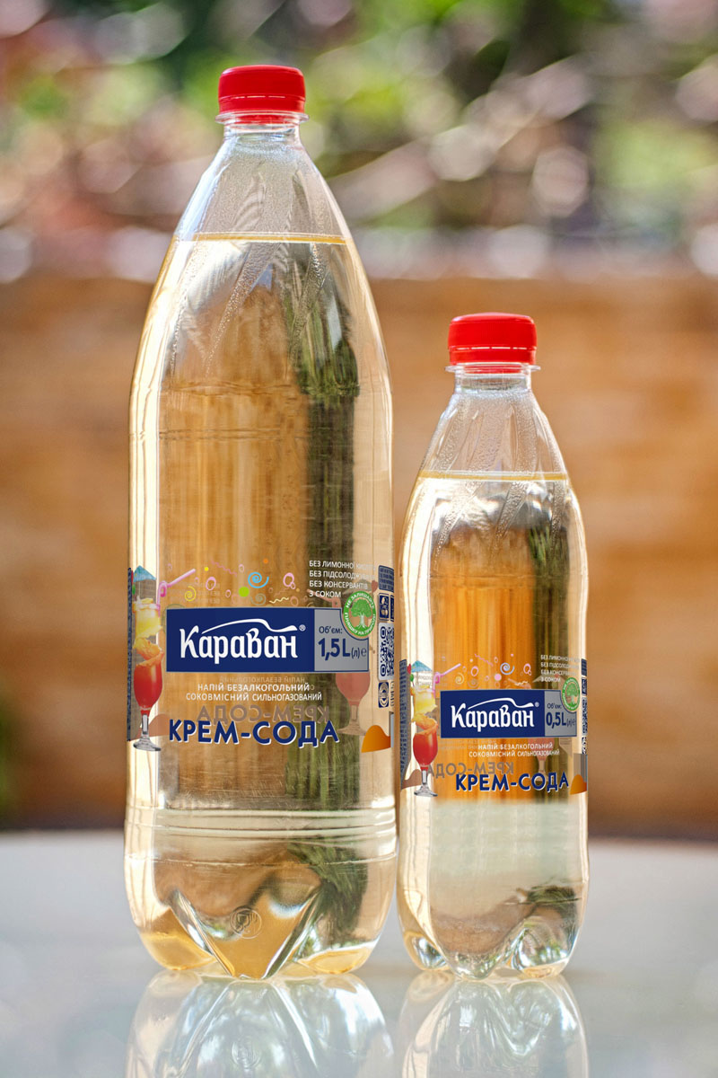 Non-alcoholic carbonated soft drink containing juice «Krem-Soda» 1.5l, 0.5l
