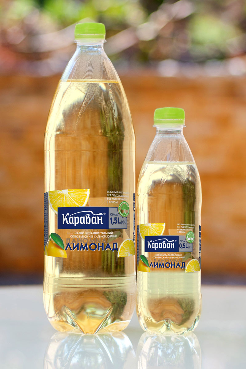 Non-alcoholic carbonated soft drink containing juice «Lemonade» 1.5l, 0.5l