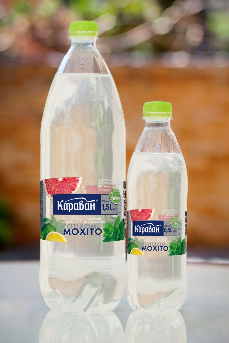 Non-alcoholic carbonated soft drink containing juice «Karavan Mojito» 1.5l, 0.5l