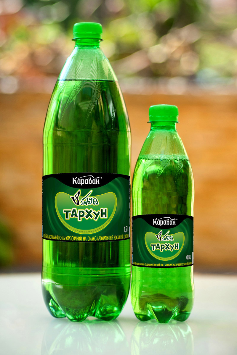 Non-alcoholic carbonated drink based on a flavouring plant raw material «Tarkhun» 1.5l, 0.5l